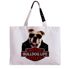 Bulldog Biker Mini Tote Bag by Valentinaart