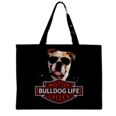 Bulldog Biker Zipper Mini Tote Bag by Valentinaart