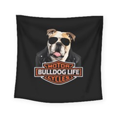 Bulldog Biker Square Tapestry (small) by Valentinaart