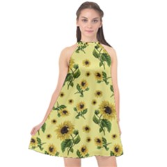 Sunflowers Pattern Halter Neckline Chiffon Dress