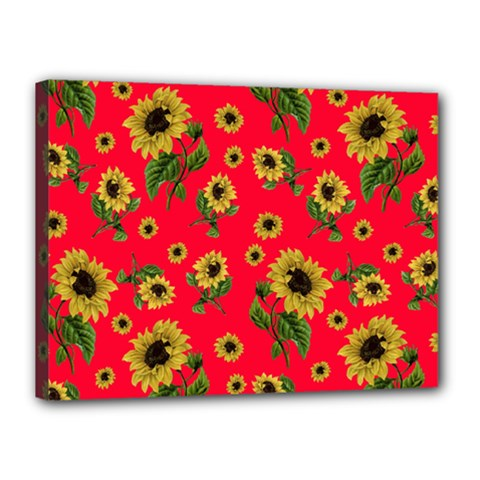 Sunflowers Pattern Canvas 16  X 12  by Valentinaart