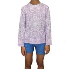 Pink Mandala art  Kids  Long Sleeve Swimwear