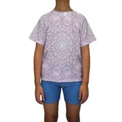 Pink Mandala art  Kids  Short Sleeve Swimwear