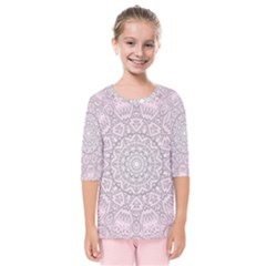 Pink Mandala art  Kids  Quarter Sleeve Raglan Tee