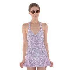Pink Mandala art  Halter Swimsuit Dress