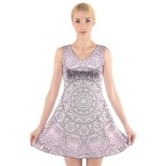 Pink Mandala art  V-Neck Sleeveless Skater Dress