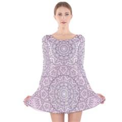 Pink Mandala art  Long Sleeve Velvet Skater Dress