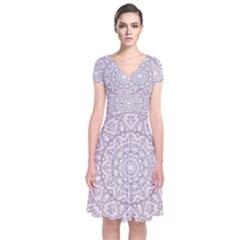 Pink Mandala art  Short Sleeve Front Wrap Dress