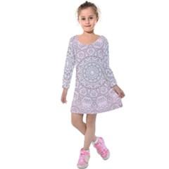 Pink Mandala art  Kids  Long Sleeve Velvet Dress
