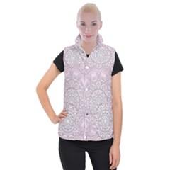 Pink Mandala art  Women s Button Up Puffer Vest
