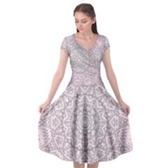 Pink Mandala art  Cap Sleeve Wrap Front Dress