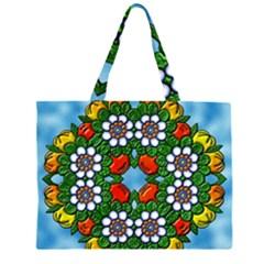 Cute Floral Mandala  Zipper Large Tote Bag by paulaoliveiradesign