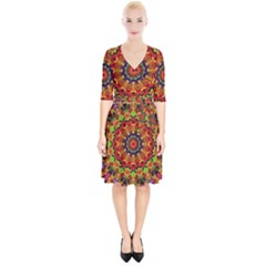 Fractal Mandala Abstract Pattern Wrap Up Cocktail Dress