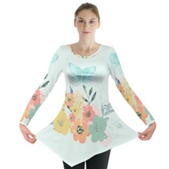 Watercolor Floral Blue Cute Butterfly Illustration Long Sleeve Tunic  by paulaoliveiradesign