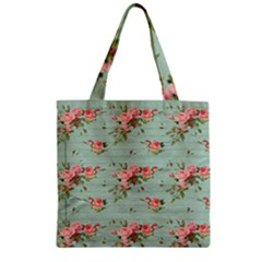 Vintage Blue Wallpaper Floral Pattern Zipper Grocery Tote Bag by paulaoliveiradesign