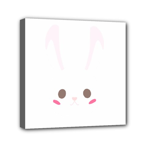 Rabbit Cute Animal White Mini Canvas 6  X 6  by Nexatart