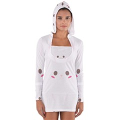 Rabbit Cute Animal White Long Sleeve Hooded T Shirt