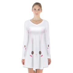 Rabbit Cute Animal White Long Sleeve Velvet V Neck Dress