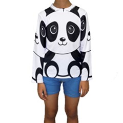 Bear Panda Bear Panda Animals Kids  Long Sleeve Swimwear by Nexatart