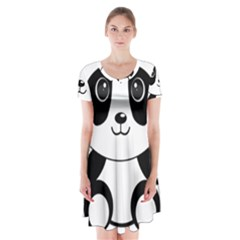 Bear Panda Bear Panda Animals Short Sleeve V Neck Flare Dress
