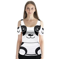 Bear Panda Bear Panda Animals Butterfly Sleeve Cutout Tee
