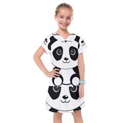 Bear Panda Bear Panda Animals Kids  Drop Waist Dress