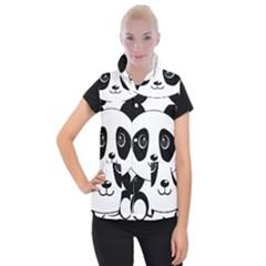 Bear Panda Bear Panda Animals Women s Button Up Puffer Vest by Nexatart