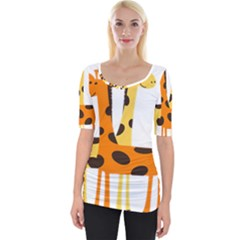 Giraffe Africa Safari Wildlife Wide Neckline Tee