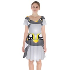 Cute Penguin Animal Short Sleeve Bardot Dress