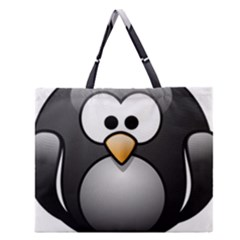 Penguin Birds Aquatic Flightless Zipper Large Tote Bag