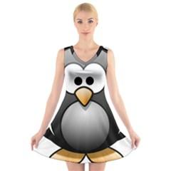 Penguin Birds Aquatic Flightless V Neck Sleeveless Skater Dress
