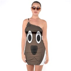 Dog Pup Animal Canine Brown Pet One Soulder Bodycon Dress