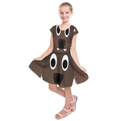 Dog Pup Animal Canine Brown Pet Kids  Short Sleeve Dress