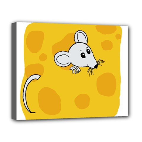 Rat Mouse Cheese Animal Mammal Deluxe Canvas 20  X 16   by Nexatart