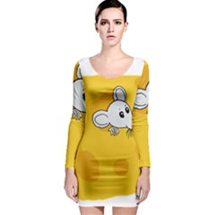 Rat Mouse Cheese Animal Mammal Long Sleeve Bodycon Dress