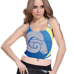 Ram Zodiac Sign Zodiac Moon Star Spaghetti Strap Bra Top