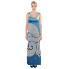 Ram Zodiac Sign Zodiac Moon Star Maxi Thigh Split Dress