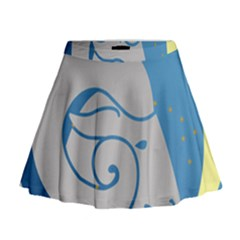 Ram Zodiac Sign Zodiac Moon Star Mini Flare Skirt