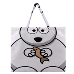 Bear Polar Bear Arctic Fish Mammal Zipper Large Tote Bag by Nexatart