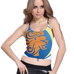Lion Zodiac Sign Zodiac Moon Star Spaghetti Strap Bra Top
