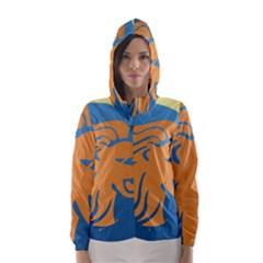 Lion Zodiac Sign Zodiac Moon Star Hooded Wind Breaker (women)