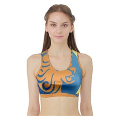Lion Zodiac Sign Zodiac Moon Star Sports Bra With Border