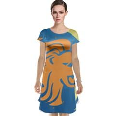 Lion Zodiac Sign Zodiac Moon Star Cap Sleeve Nightdress