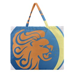 Lion Zodiac Sign Zodiac Moon Star Zipper Large Tote Bag