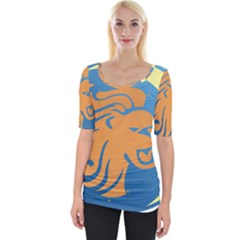 Lion Zodiac Sign Zodiac Moon Star Wide Neckline Tee