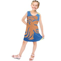 Lion Zodiac Sign Zodiac Moon Star Kids  Tunic Dress