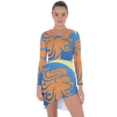 Lion Zodiac Sign Zodiac Moon Star Asymmetric Cut Out Shift Dress