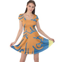 Lion Zodiac Sign Zodiac Moon Star Cap Sleeve Dress