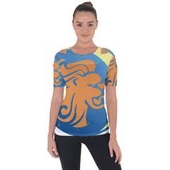 Lion Zodiac Sign Zodiac Moon Star Short Sleeve Top
