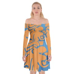 Lion Zodiac Sign Zodiac Moon Star Off Shoulder Skater Dress